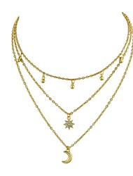 cheap -Women's Layered Necklace - Moon, Star Gold 40.5 cm Necklace For Party / Evening, School