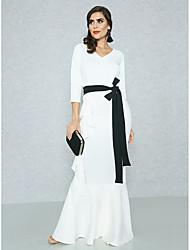 Недорогие -Жен. Изысканный Уличный стиль Облегающий силуэт Оболочка С летящей юбкой Платье - Однотонный Макси