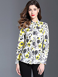 baratos -Mulheres Camisa Social Moda de Rua Estampado, Floral