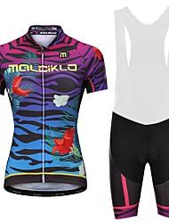 billiga Sport och friluftsliv-Malciklo Dam Cykeltröja med Haklapp-shorts - Vit Svart Cykel Bib Shorts Tröja, Snabb tork, Anatomisk design, Reflexremsa, Sommar, Lycra