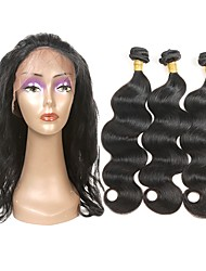 cheap -Indian Hair / Body Wave Wavy One Pack Solution / Hair Weft with Closure 3 Bundles With  Closure Human Hair Weaves Soft / Best Quality / New Arrival Natural Black Human Hair Extensions Women's