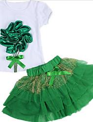 economico -Da ragazza Spiaggia Per eventi Tinta unita Fantasia floreale Completo, Cotone Poliestere Estate Manica corta Romantico Verde Rosa Fucsia