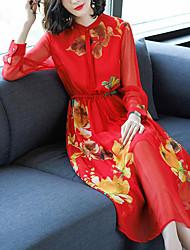 economico -Per donna sofisticato Moda città Swing Vestito - Con fiocco A pieghe, A quadri Maxi