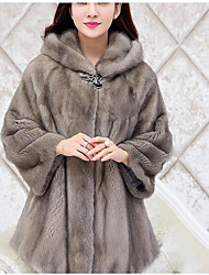 cheap -Women's Basic Loose Fur Coat-Solid Colored