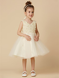 cheap -A-Line Knee Length Flower Girl Dress - Satin Tulle Sleeveless V Neck with Beading by LAN TING BRIDE®