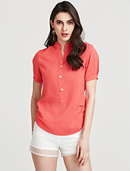 cheap -Women's Casual Blouse - Solid Colored Stand / Summer