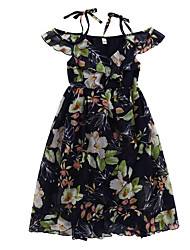 cheap -Girl's Daily Holiday Solid Colored Floral Dress, Cotton Polyester Summer Sleeveless Active Boho Navy Blue