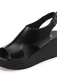 Недорогие -Жен. Обувь Полиуретан Весна Лето Удобная обувь Сандалии Туфли на танкетке Круглый носок для Белый Черный
