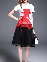 povoljno -Žene Osnovni Majica - Color block, Vezeno Suknja