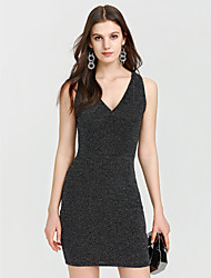 cheap -Women's Club Bodycon Dress - Solid Color Black, Modern Style High Rise Deep V