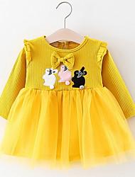 economico -L'abito floreale quotidiano della bambina, maniche lunghe estive in poliestere, giallo, bianco rosa 70 80 100 90