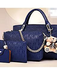 cheap -Women's Bags PU Bag Set 4 Pieces Purse Set Bear for Office & Career Black / Yellow / Wine