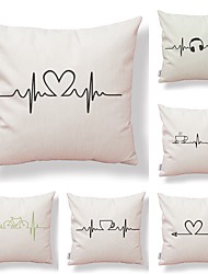 cheap -6 pcs Textile Cotton / Linen Pillow case, Lines / Waves Simple Printing Classic Style Nature Inspired