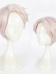 baratos -Perucas sintéticas Liso Rosa Corte em Camadas Cabelo Sintético Riscas Naturais Rosa Peruca Mulheres Curto Sem Touca Rosa