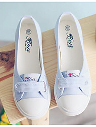 abordables -Femme Chaussures Toile Printemps Automne Ballerine Confort Ballerines Talon Bas pour Décontracté Blanc Bleu de minuit Bleu clair