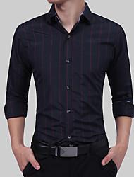 Недорогие -Муж. Рубашка Классический Шахматка Синий и белый