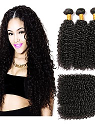 cheap -Brazilian Hair Curly Human Hair Weaves 6-Pack Cute Soft 100% Virgin Fashion Hot Sale Natural Color Hair Weaves Human Hair Extensions One
