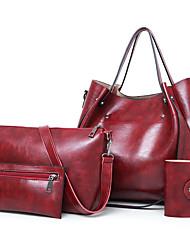 economico -Per donna Sacchetti pelle sintetica sacchetto regola Set di borsa da 4 pezzi Con balze Rosso / Grigio / Marrone
