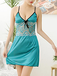 cheap -Women's Suits Nightwear - Lace Bow Ruched, Solid Colored