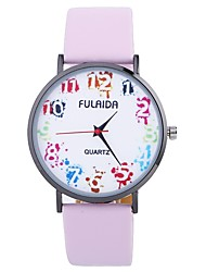 cheap -Women's Fashion Watch Quartz Large Dial PU Band Analog Fashion Minimalist Black / White / Blue - Fuchsia Brown Pink One Year Battery Life