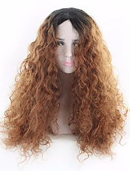 cheap -Synthetic Wig Wavy Middle Part Synthetic Hair Heat Resistant Brown Wig Women's Long Capless / Yes