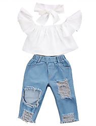 cheap -Girls' Going out Holiday Solid Colored Clothing Set, Polyester Spandex Spring Summer Short Sleeves Punk & Gothic Street chic Light Blue