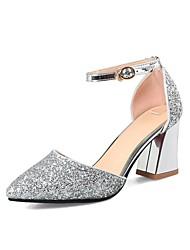 preiswerte -Damen Schuhe Paillette Frühling Sommer Pumps High Heels Blockabsatz Spitze Zehe für Hochzeit Party & Festivität Silber Dunkellila