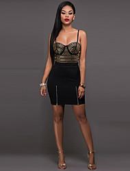 Недорогие -Жен. Классический Тонкие Оболочка Платье - Однотонный Геометрический принт Мини