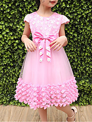 cheap -Girl's Daily Going out Flower/Floral Dress, Polyester Summer Short Sleeves Cute Princess White Blushing Pink