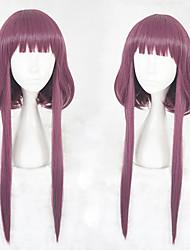 abordables -Perruque Synthétique Droit Coupe Dégradée Ligne de Cheveux Naturelle Violet Femme Sans bonnet Perruque de Cosplay Mid Length Cheveux