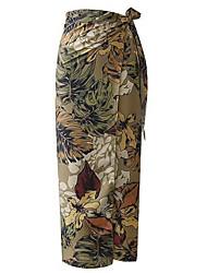 abordables -Mujer Básico Línea A Faldas - Estampado, Geométrico
