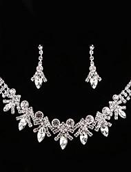 baratos -Mulheres Caído / Flor Conjunto de jóias 1 Colar / Brincos - Clássico / Vintage / Elegant Prata Conjunto de Jóias / Brincos Compridos /