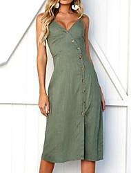 Недорогие -Жен. Классический Тонкие Оболочка Платье - Однотонный V-образный вырез До колена