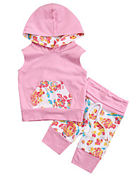cheap -Girls' Daily Sports Solid Colored Patchwork Clothing Set, Cotton Spring Fall Sleeveless Active Blushing Pink