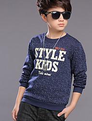 abordables -Garçon Quotidien Couleur Pleine Pull à capuche & Sweatshirt, Polyester Printemps Manches Longues Actif Bleu