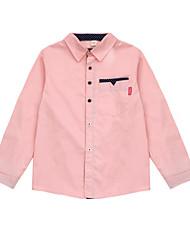 preiswerte -Jungen Alltag Punkt Hemd, Baumwolle Polyester Frühling Herbst Langarm Grundlegend Weiß Rosa Leicht Blau