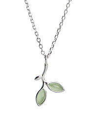 cheap -Women's Leaf S925 Sterling Silver Pendant Necklace  -  Simple Fashion Sweet Light Green 44.5cm Necklace For Gift Daily