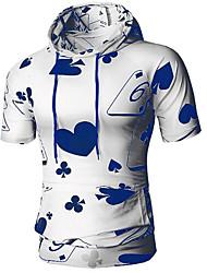 preiswerte -Herrn Geometrisch / Einfarbig - Grundlegend Sport Übergrössen Baumwolle T-shirt, Mit Kapuze Schlank Druck / Kurzarm