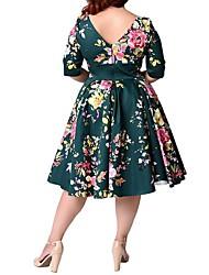 Недорогие -Жен. Большие размеры На выход Винтаж А-силуэт Платье - Цветочный принт, С принтом До колена / Лето
