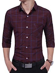 cheap -Men's Business Shirt - Plaid, Patchwork