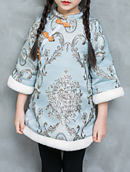 cheap -Girl's Daily Going out Embroidery Jacquard Patterned Dress, Polyester Winter Fall 3/4 Length Sleeves Vintage Chinoiserie Boho Light Blue