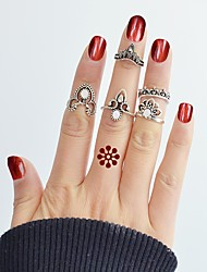 Недорогие -Ring Set - 5 шт. В форме короны Цветы Классический Мода Серебряный Кольцо Назначение Повседневные Свидание