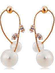 abordables -Mujer Cristal Pendientes colgantes - Cristal, Perla Artificial, Chapado en Oro Clásico, Moda, Elegante Oro / Blanco Para Fiesta / Noche / Formal