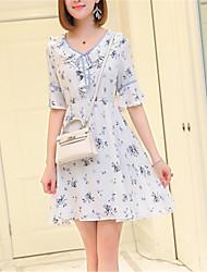 cheap -Women's A Line Dress - Floral V Neck