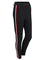 baratos -Mulheres Com Cordão Calças de Yoga - Preto, Cinzento Esportes Riscas, Moderno Calças Roupas Esportivas Treinador, Ioga, Secagem Rápida