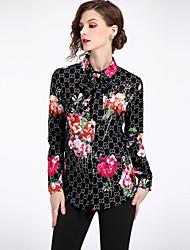 cheap -Women's Street chic Shirt - Floral Shirt Collar / Spring / Summer