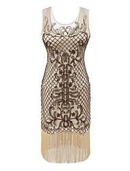 economico -Grande Gatsby Il grande Gatsby Costume Per donna Vestito del flapper Giallo Vintage Cosplay Poliestere Senza maniche