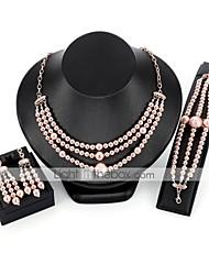 Недорогие -геометрический Комплект ювелирных изделий - Дамы, Элегантный стиль Включают Браслеты-цепочки и звенья Серьги-слезки Ожерелья-цепочки Розовый Назначение Свадьба Для вечеринок