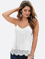 cheap -Women's Basic Street chic Tank Top-Color Block,Lace