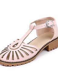 abordables -Femme Chaussures Similicuir Printemps Automne Confort Sandales Talon Bottier Bout fermé pour Blanc Noir Beige Rose